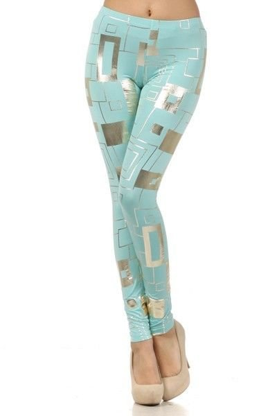 WOMENS PARTY CLUB CASUAL LEGGINGS BLUE AND SILVER METALLIC SIZE S M L