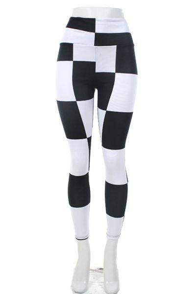 WOMENS CHECKERD LYCRA SANDEX BLACK AND WHITE CASUAL LEGGINGS SIZE S M L