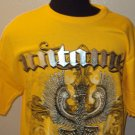 MENS COTTON UNTAMED YELLOW GRAPHIC T-SHIRT  SIZE XL