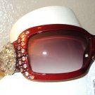 MONTANA WEST RED UV400 SUN GLASSES WITH A ROUND CONCHO DESIGN ON THE ARM