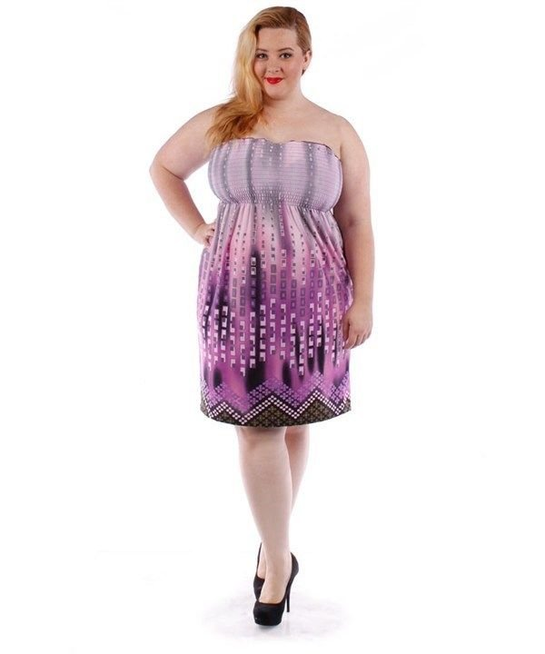 PLUS SIZE PINK FLORAL PURPLE SMOCKED STRAPLESS HALTER DRESS SIZE 1X 2X 3X