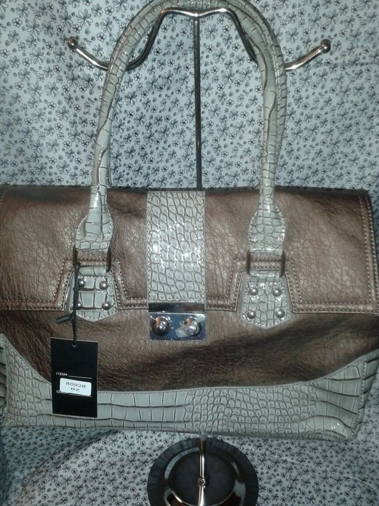 WOMENS COPPER BROWN AND SILVER EVENING SHOULDER PURSE