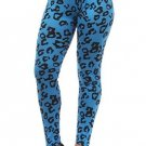 WOMENS  BLUE AND BLACK SPANDEX ANIMAL PRINT PLUS SIZE LEGGINGS SIZE 1X 2X
