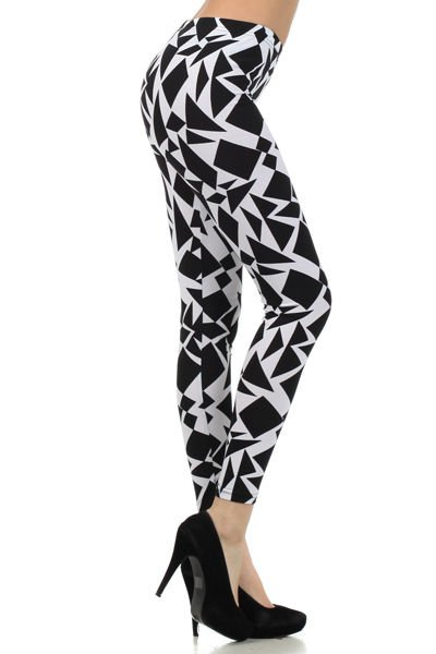 WOMENS CASUAL PARTY BLACK AND WHITE TRIANGLER DESIGN LEGGINGS SIZE S M L