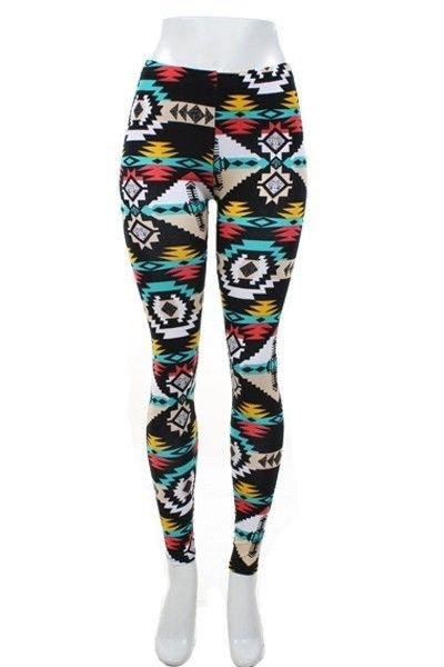 WOMENS TRIBAL PRINT BLACK YELLOW RED BLUE LEGGINGS WITH ELASTIC WAISTBAND S M L