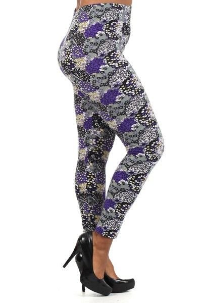 PLUS SIZE LEGGINGS GREY AND LAVENDER CASUAL NYLON SPANDEX SIZE 1X 2X 3X