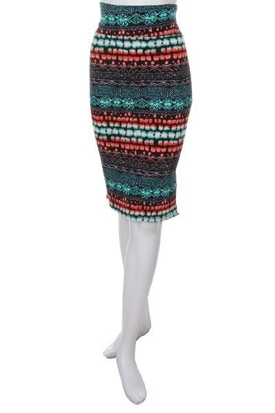 SEAMLESS CASUAL PARTY STRETCH SKIRT MINT GREEN ORANGE COLOR SIZE S M L