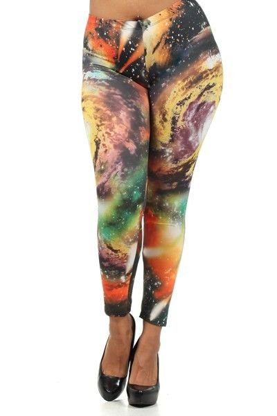 WOMENS CASUAL PARTY EVENING PLUS SIZE GALAXY LEGGINGS SIZE  S M L 1X 2X 3X
