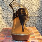 WOMENS STRAPPY OPEN TOE BLACK LEATHER PLATFORM WEDGE SANDALS SIZE 6 6.5 10
