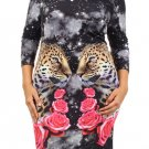 WOMENS CASUAL BODYCON PINK BLACK STRETCH DRESS ANIMAL FLORAL DESIGN SIZE S M L