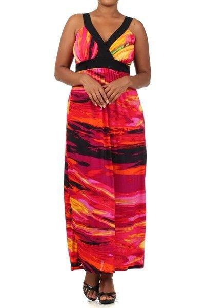 WOMENS SUMMER BEACH PARTY PINK BLACK FUSCIA PLUS SIZE MAXI DRESS SIZE 1X