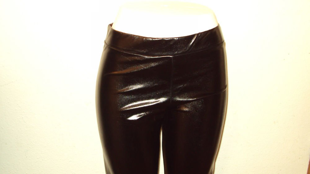 PLUS SIZE WOMENS LEATHER LEGGINGS SOLID BLACK SPANDEX 92% POLYESTER 8% XL 2X 3X