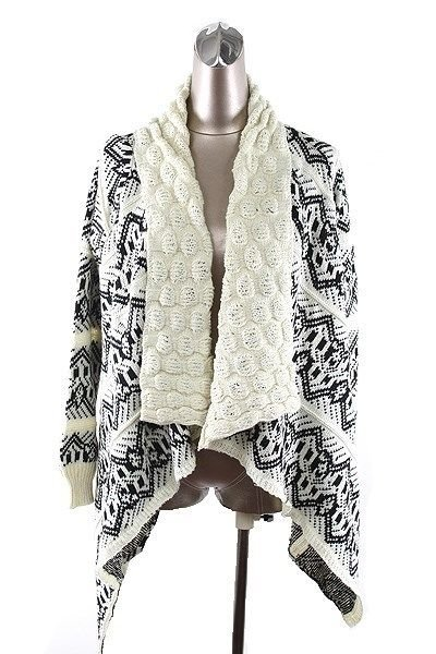 WOMENS CASUAL BLACK WHITE CARDIGAN ONE SIZE