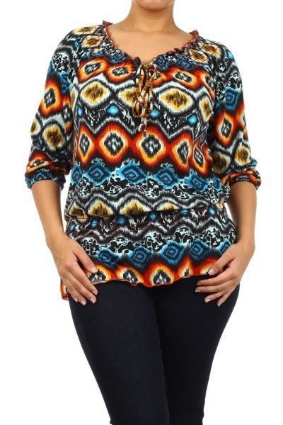 WOMENS CASUAL PLUS SIZE SUN BURST BLOUSE BLUE YELLOW RED  SIZE 1X 2X 3X