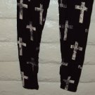 WOMENS BLACK SPANDEX LEGGINGS WITH  A WHITE CROSS Size S M