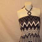 WOMENS SUMMER BEACH CHEVRON DESIGN MAXI DRESS GRAY WHITE BLACK PLUS SIZE 1X
