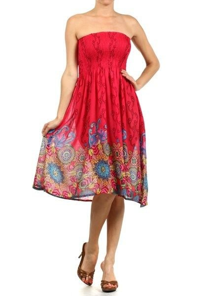 WOMENS ABSTRACT STRAPLESS CORAL SUNDRESS WITH SMOCKED WAIST SIZE S M L XL