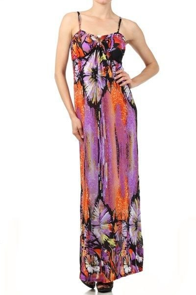 WOMENS PURPLE MAXI DRESS WITH A KEY HOLE OPENING ON THE BUST LINE SIZE S M L