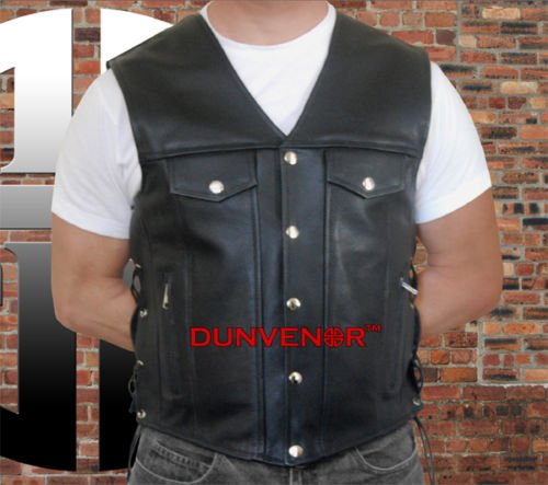 "QUALITY LEATHER ""DENIM"" WAISTCOAT RETRO VEST BIKER BIKE MOTORCYCLE MOTORBIKE"