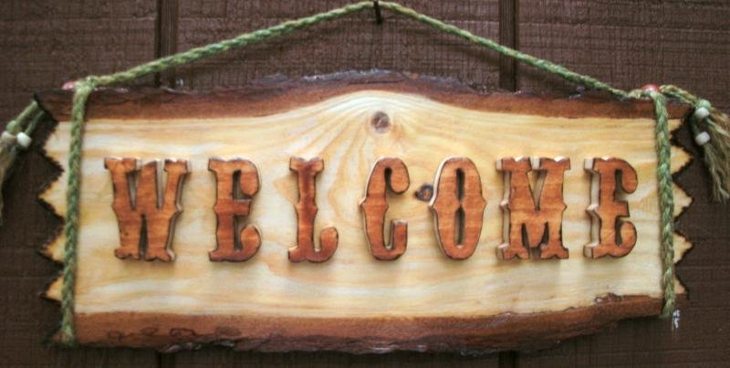 Rustic Welcom Sign w/ Raised Scrolled Letters