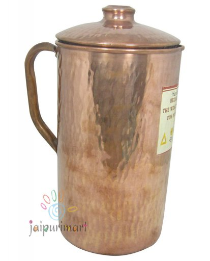 Wholesale Lot 2PC Jug Indian Pure Copper  Water Jug 1.0 Ltr. Pot Pitcher Mug