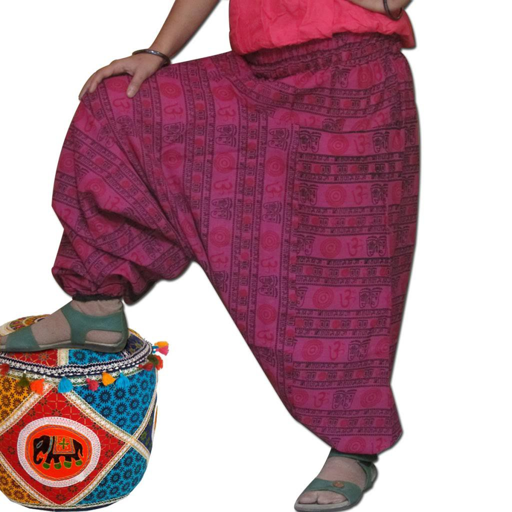 Pink Color Harem Om Print Pants Baggy Genie Trouser Jumpsuit Boho Gypsy Indian
