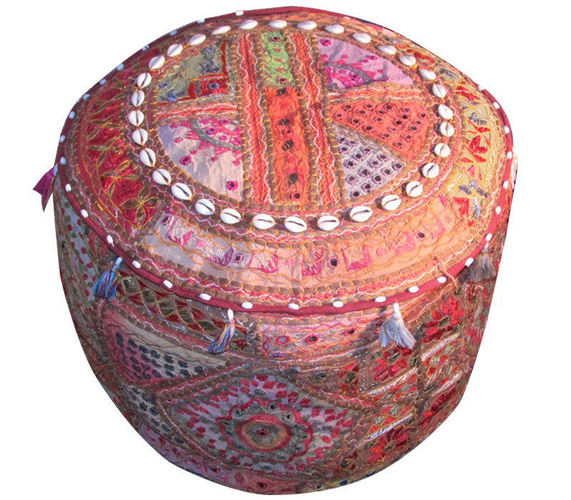 """20"""" Decorative Round Ottoman, Chair Cover, Pouf, Ethnic Vintage, Stool, Pillow"""