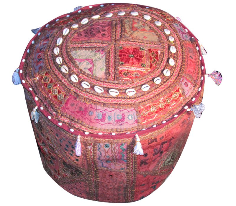 """20"""" Decorative Round Ottoman, Chair Cover, Pouf, Ethnic Vintage, Stool, Pillow,"""