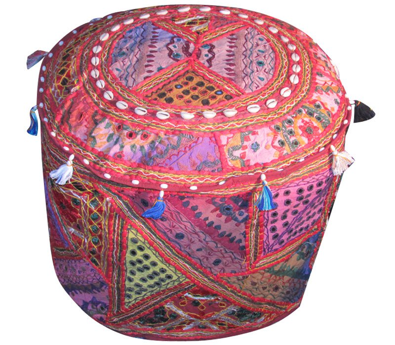 """20"""" Decorative Round Ottoman, Pillow, Pouf, Ethnic Vintage, Stool, Chair Cover,"""
