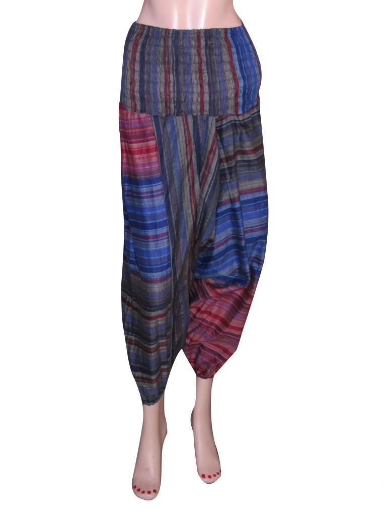 Stripes  Baggy Genie Trouser Jumpsuit Boho Gypsy Indian Multi Color Harem Pants