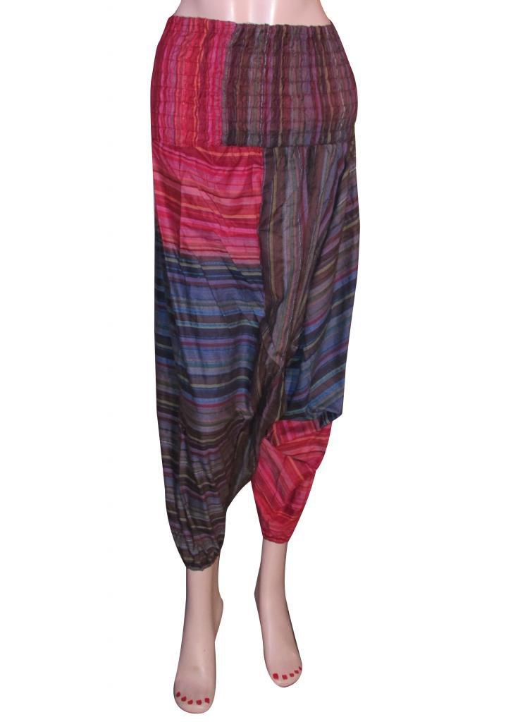 Genie Trouser Jumpsuit Boho Gypsy Indian Multi Color Harem Pants Stripes Baggy