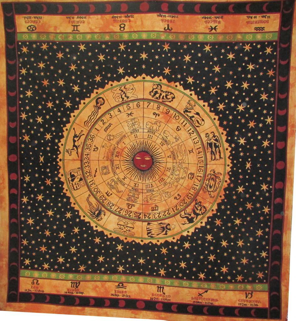 Astrology Zodiac Wall Hanging Bed Cover Tapestry Bedspread Horoscope Mandala Art