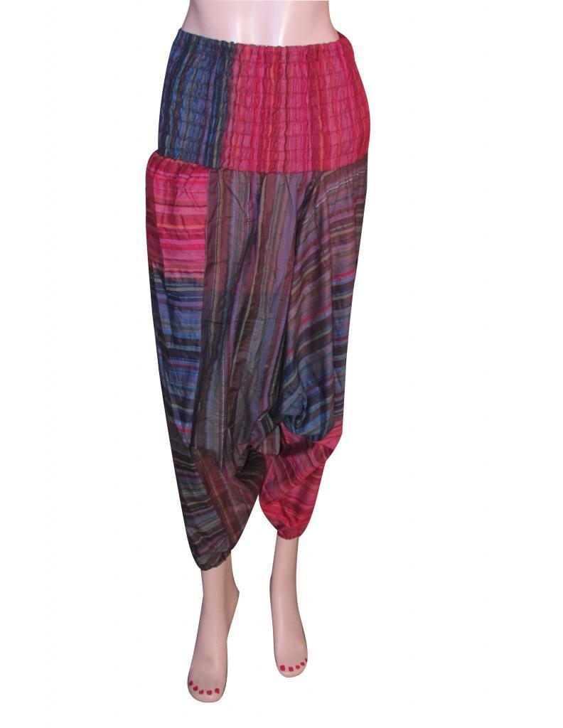 Boho Gypsy Indian Multi Color Harem Pants Stripes Baggy Genie Trouser Jumpsuit