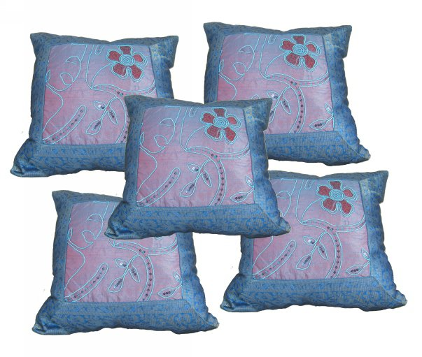 Exclusive Blue Silk Cushion Cover HomeDecor Embroidery Pillow Covers 16X16 Throw