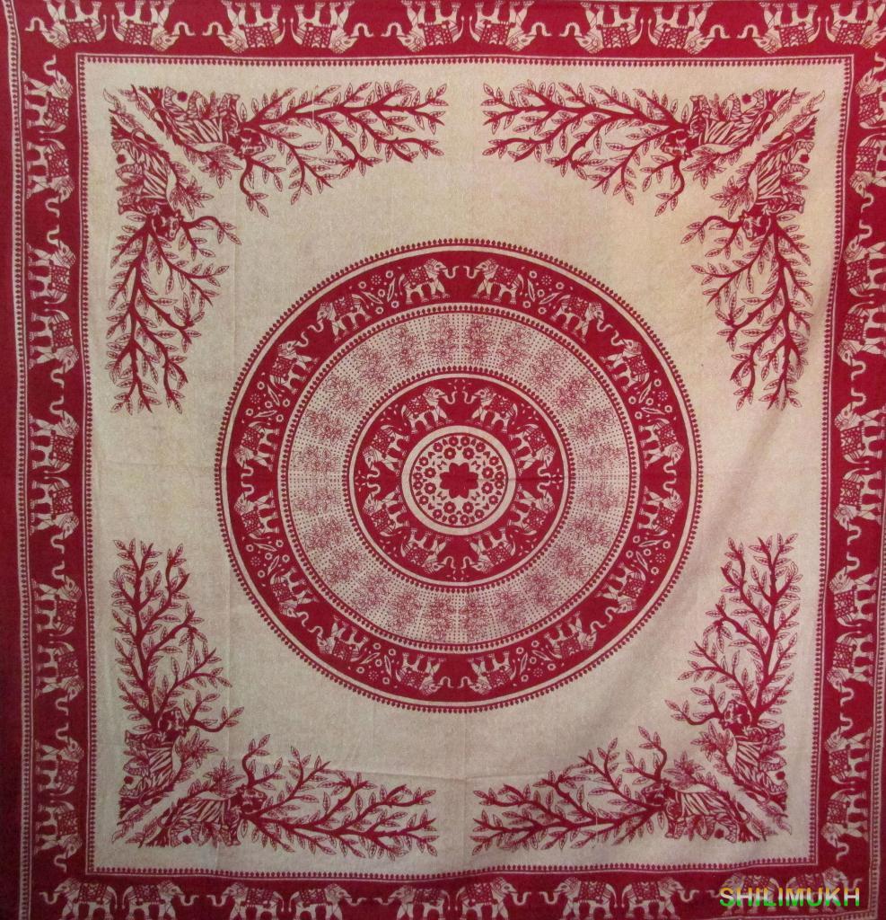 Elephant print Wall Hanging Bed Cover Tapestry Bedspread Horoscope Mandala Art