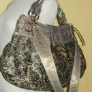 near mint GUESS Large Brown Jacquard Faux Leather Hobo Shopper Shoulder Handbag