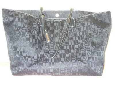Kenneth Cole Reaction  Tote Shopper Shoulderbag Black Jacquard Faux Leather