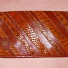 Mint OLEG CASSINI BROWN Clutch Purse Handbag Bag Leather Multiple Texture Emboss