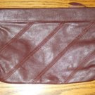 ANTONIA DESIGNS - BROWN BURGUNDY- medium size Leather CLUTCH Purse Handbag  NICE