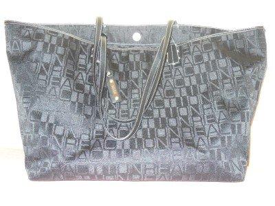 KENNETH COLE REACTION - BLACK Jacquard/ Faux Leather Shoulderbag Tote Shopper