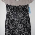 Antonio Melani Color-Block Cocktail Pencil Dress Sz 8 Black Lace over Beige