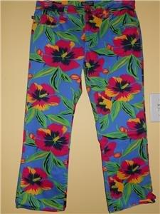 Ralph Lauren Capri Cropped Pants Jeans Sz 4 Floral Print Blue Green Pink MINT