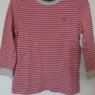 Ralph Lauren Shirt Top Pullover Sz S Red Beige Cotton Striped Long Sleeve