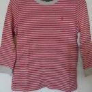 Ralph Lauren Shirt Top Pullover Sz S Red Beige Cotton Striped Long Sleeve