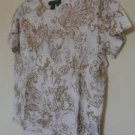 NWT Ralph Lauren Sz M Blouse Shirt White Golden-Beige Paisley Short Sleeve