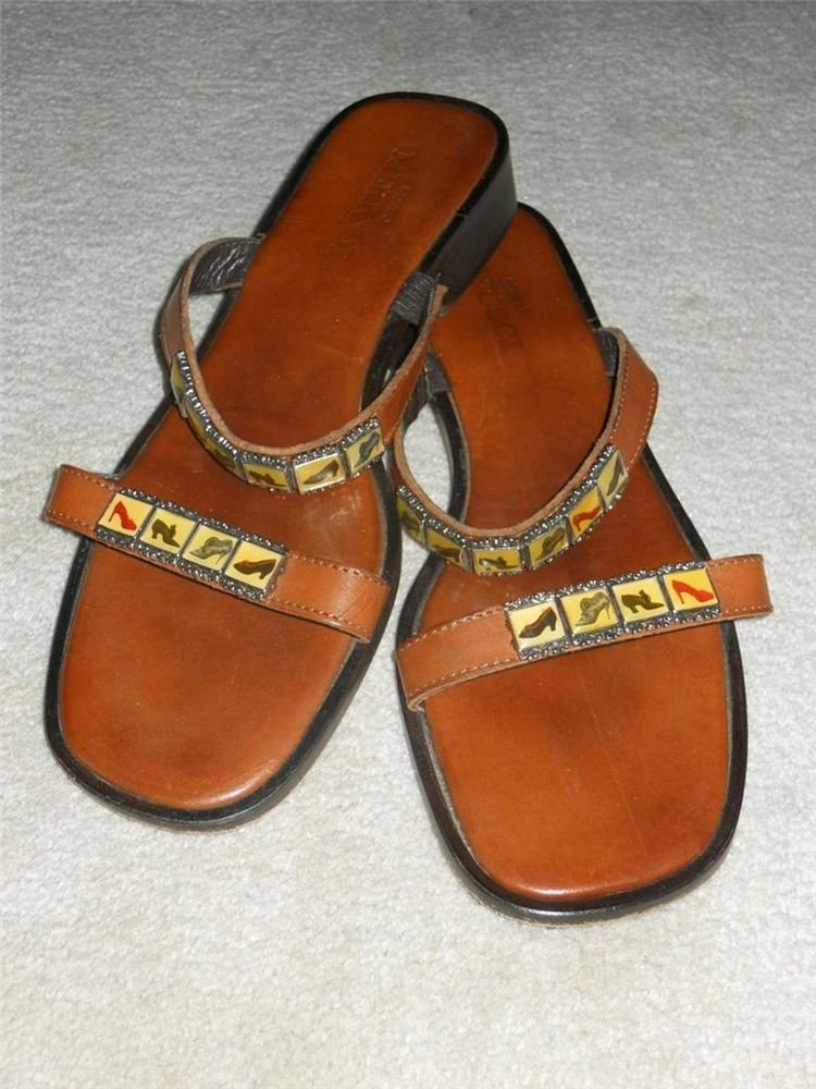 Sesto Meucci Leather Sandals Slides Strappy Sz 9.5 M English Brown Italy made