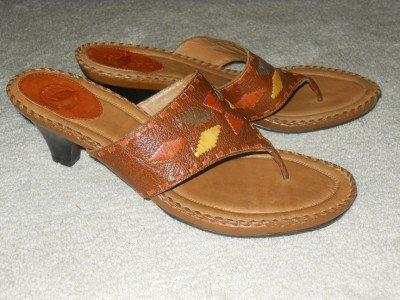Heels Slides Strapy Flip Flops Sz 11 Brown Leather Woven Pattern Brazil NURTURE