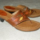 Heels Slides Strapy Flip Flops Sz 11 Brown Leather Woven Pattern Brazil NURTURE