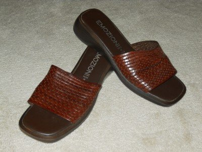 Brown Leather Sandals Slides Wedges Platforms Sz 9 / 39 EUC Italy made EMOZIONI