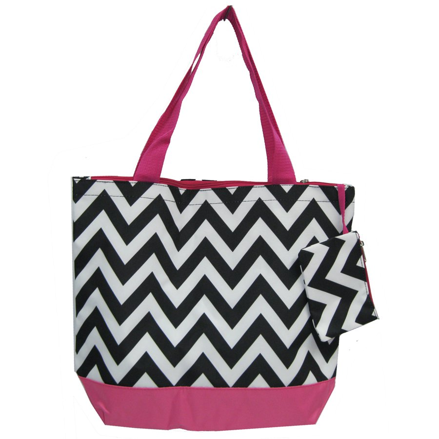 Chevron Black & White Shopping Bag 17""